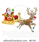 Vector Illustration of a Red Nosed Reindeer Flying Santa in a Sleigh by AtStockIllustration