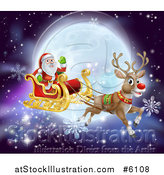 Vector Illustration of a Red Nosed Reindeer Flying Santa in a Sleigh over a Full Moon by AtStockIllustration