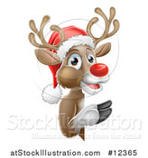 Vector Illustration of a Red Nosed Reindeer Wearing a Christmas Santa Hat and Looking Around a Sign by AtStockIllustration