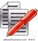 Vector Illustration of a Red Pen over Two Pages of Text by AtStockIllustration