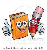Vector Illustration of a Red Pencil and Orange Book Giving Thumbs up by AtStockIllustration