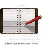 Vector Illustration of a Red Pencil Writing Notes or a Meeting in a Day Planner, Journal or Notebook by AtStockIllustration