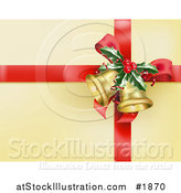 Vector Illustration of a Red Ribbon with Holly and Christmas Bells on Golden Wrapping Paper by AtStockIllustration