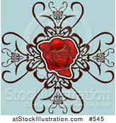 Vector Illustration of a Red Rose with Designs on Blue by AtStockIllustration