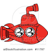 Vector Illustration of a Red Submarine by AtStockIllustration