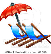 Vector Illustration of a Red Umbrella over Two Beach Lounge Chairs by AtStockIllustration