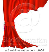 Vector Illustration of a Red Velvet Theater Curtain Pulled Back by AtStockIllustration