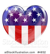 Vector Illustration of a Reflective American Flag Heart by AtStockIllustration