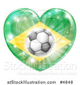 Vector Illustration of a Reflective Brazil Flag Heart and Soccer Ball by AtStockIllustration