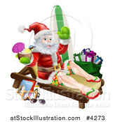 Vector Illustration of a Relaxing Santa Holding a Cocktail and Waving with Vacation Items by AtStockIllustration
