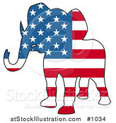 Vector Illustration of a Republican Elephant American Flag by AtStockIllustration