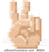 Vector Illustration of a Retro 8 Bit Pixel Art Styled Hand Gesturing Peace by AtStockIllustration