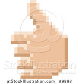 Vector Illustration of a Retro 8 Bit Pixel Art Styled Hand Giving a Thumb up by AtStockIllustration
