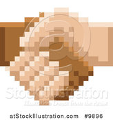 Vector Illustration of a Retro 8 Bit Pixel Art Styled Hands Shaking by AtStockIllustration