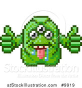 Vector Illustration of a Retro 8 Bit Pixel Art Video Game Styled Alien by AtStockIllustration