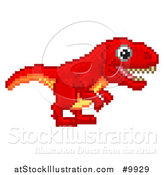 Vector Illustration of a Retro 8 Bit Pixel Art Video Game Styled Red Tyrannosaurs Rex Dinosaur by AtStockIllustration