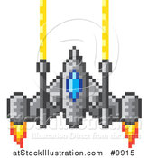 Vector Illustration of a Retro 8 Bit Pixel Art Video Game Styled Spaceship by AtStockIllustration