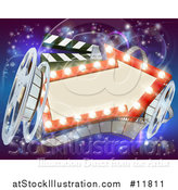 Vector Illustration of a Retro Arrow Marquee Theater Sign with Light Bulbs, Film Reels and Clapper Board over Magical Lights by AtStockIllustration