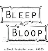 Vector Illustration of a Retro Black and White Pop Art Comic Styled Bleep Bloop Sound Effect by AtStockIllustration