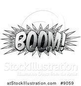 Vector Illustration of a Retro Black and White Pop Art Comic Styled Boom Explosion Sound Effect by AtStockIllustration