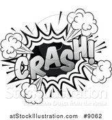 Vector Illustration of a Retro Black and White Pop Art Comic Styled Crash Sound Effect by AtStockIllustration