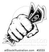 Vector Illustration of a Retro Black and White Woodcut Fist Holding Cash Money by AtStockIllustration