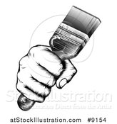 Vector Illustration of a Retro Black and White Woodcut Fisted Hand Holding up a Paintbrush by AtStockIllustration