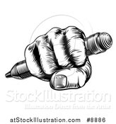 Vector Illustration of a Retro Black and White Woodcut or Engraved Fisted Hand Holding a Pencil by AtStockIllustration