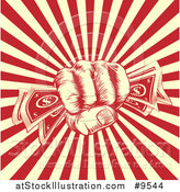 Vector Illustration of a Retro Engraved Revolutionary Fist Holding Money over a Red and Yellow Burst by AtStockIllustration