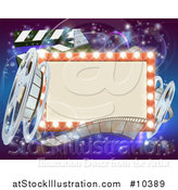 Vector Illustration of a Retro Marquee Theater Sign with Light Bulbs, Film Reels and Clapper Board over Magical Lights by AtStockIllustration