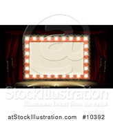 Vector Illustration of a Retro Marquee Theater Sign with Light Bulbs on a Stage by AtStockIllustration