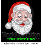 Vector Illustration of a Retro Pixelated Santa Claus Face over Merry Christmas Text on Black by AtStockIllustration