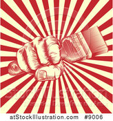 Vector Illustration of a Retro Woodcut Fist Holding a Paintbrush over Yellow and Red Rays by AtStockIllustration
