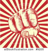 Vector Illustration of a Retro Woodcut or Engraved Revolutionary Fist over Beige and Red Rays by AtStockIllustration
