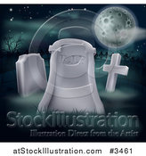 Vector Illustration of a RIP Cemetery Tombstone Under a Full Moon by AtStockIllustration