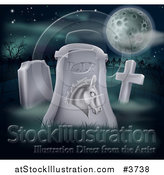 Vector Illustration of a Rip Dead Democratic Politics Tombstone and Full Moon by AtStockIllustration