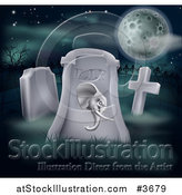Vector Illustration of a Rip Dead Republican Politics Tombstone and Full Moon by AtStockIllustration