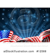 Vector Illustration of a Rippling American Flag over Dark Blue Rays and Flares by AtStockIllustration