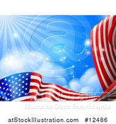Vector Illustration of a Rippling American Flag Under Blue Sky with Rays of Sunshine by AtStockIllustration