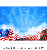 Vector Illustration of a Rippling American Flag Under Blue Sky with Sunshine by AtStockIllustration
