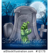 Vector Illustration of a Rising Zombie Hand in a Cemetery by AtStockIllustration