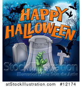 Vector Illustration of a Rising Zombie Hand in a Cemetery, with Happy Halloween Text and Bats by AtStockIllustration