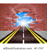 Vector Illustration of a Road Leading Through a Hole in a 3d Red Brick Wall by AtStockIllustration