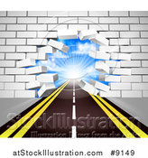 Vector Illustration of a Road Leading Through a Hole in a 3d White Brick Wall by AtStockIllustration