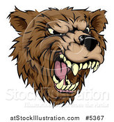 Vector Illustration of a Roaring Aggressive Bear Mascot Head by AtStockIllustration