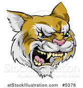 Vector Illustration of a Roaring Aggressive Bobcat Mascot Head by AtStockIllustration