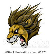 Vector Illustration of a Roaring Aggressive Lion Mascot Head by AtStockIllustration