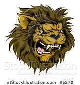 Vector Illustration of a Roaring Aggressive Male Lion Mascot Head by AtStockIllustration