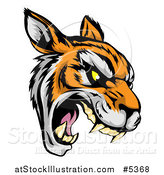 Vector Illustration of a Roaring Aggressive Tiger Mascot Head by AtStockIllustration
