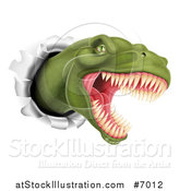 Vector Illustration of a Roaring Angry Green Tyrannosaurus Rex Dino Head Breaking Through a Wall by AtStockIllustration